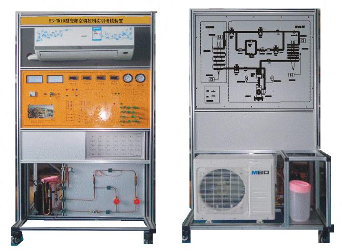 "SB-TM10型变频空调控制实训考核装置 SB-TM10型/空调制冷制热实训考核装置""是根据教育部""振兴21世纪职业教育课程改革和教材建设规划""要求,以能力为本位、以就业为导向,紧密结合生产实际和职业岗位的技能要求,按照职业教育的教学和实训要求研发的产品。适合高职院校、职业学校的制冷技术、制冷流体机械、家用制冷设备原理与维修、冷库与冷藏技术、制冷设备维修工(初级、中级、高级)实训等教学实训装置。培养掌握空调与制冷技术专业理论知识和专业实践技能,从事空调、制冷设备及系统的技术升级、改造设计、安装、调试"