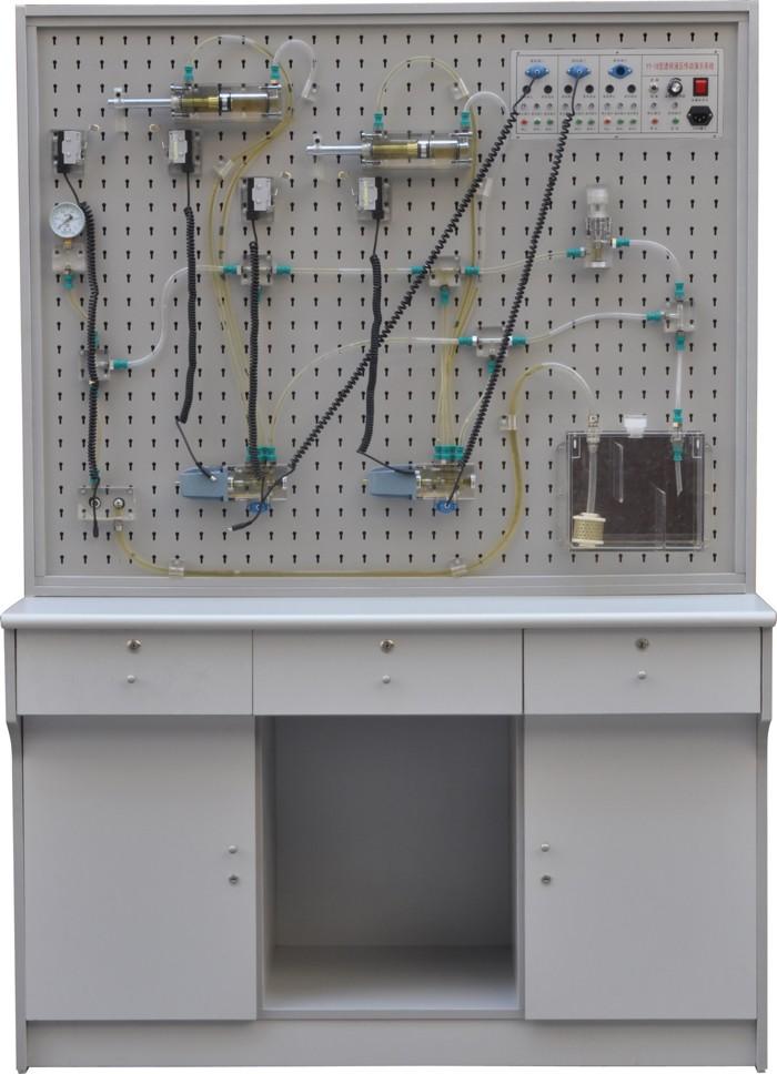 """YY-19A透明液压传动与PLC实训装置  一、概述 本装置采用透明有机玻璃外壳的液压元件及防漏透明油管,能清晰直观的观察到液压元件内部结构和流动过程。可开设液压传动演示、多种控制方式(手动、继电器、PLC)的基本回路及组态仿真实训。适合大中专院校机电类专业""""液压传动""""、""""液压与气压传动""""等课程的教学实训需要。 二、主要特点 1、透明液压与PLC实训装置主要由实训桌、实训台、液压泵站、液压元件和电器控制器件、可编程控制器(PLC)等组件组成。 2、实训桌、实训台为铁"""